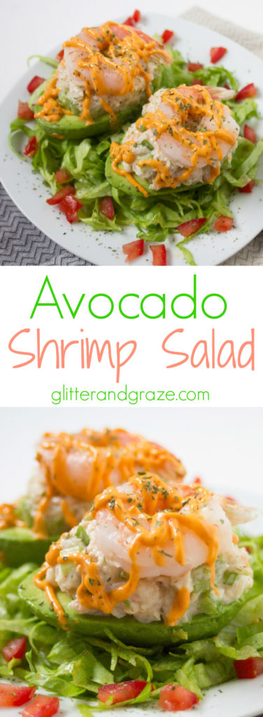 A fresh and light shrimp salad served in an avocado bowl. This shrimp avocado salad is a perfect for a lighter option for lunch.
