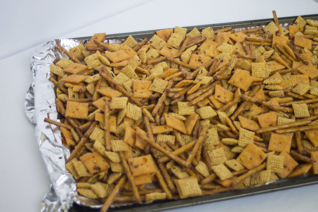 pan of spicy ranch snack mix