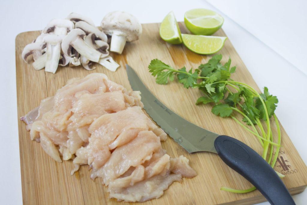 tom kha soup cutting