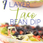 a photo collage of A clear bowl with layers of beans, guacamole, salsa, sour cream, lettuce, cheese, tomatoes, and olives with a chip taking a dip