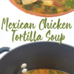 a white bowl of mexican chicken tortilla soup with avocados, tortilla stripes and cilantro and a pot of it