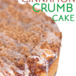 close up shot of a apple cinnamon crumb cake with icing dripping off the side