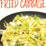 a pan of cooked cajun fried cabbage with title