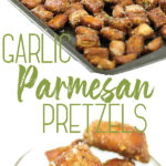 photo collage of garlic parmesan pretzels on a baking pan and in a mason jar