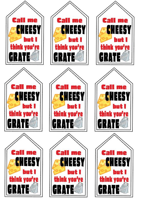 Printable cheese dip valentine