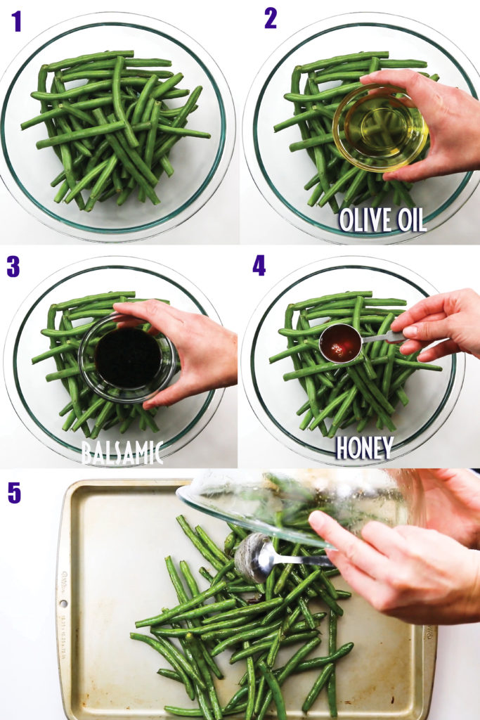step by step making balsamic green beans green beans in glass bowl and pan