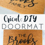 photo collage with title of brown doormat with black custom name