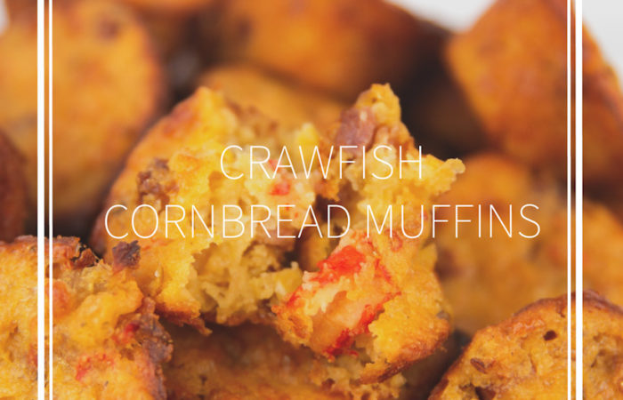 crawfish cornbread muffins with a title