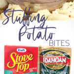 photo collage of white plate with stuffing potato bbites with one dipping in gravy and ingredients