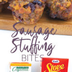 photo collage of sausage stuffing bites on a cutting board and the ingredients to make them