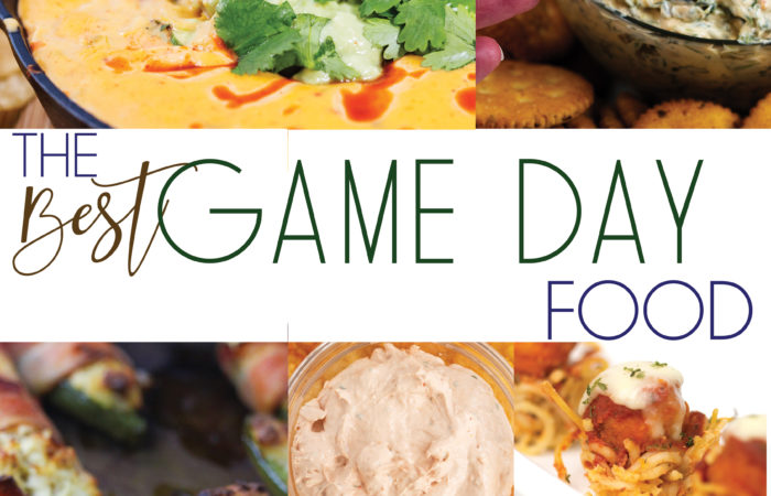 a photo collage of different appetizers that are perfect for game day