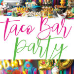 photo collage of streamer back drop with mexican flowers border wih taco twosday balloons with mexican food table with cupcakes and colorful silverware