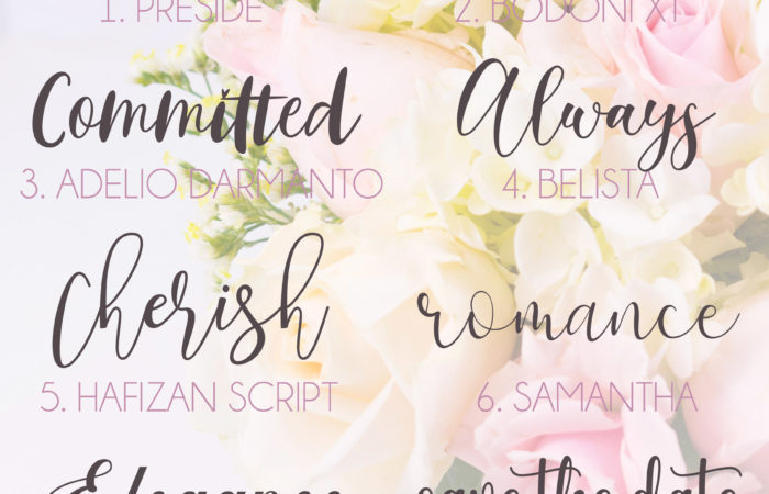 a faded flower arrangement picture with a collection of free wedding fonts