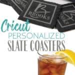 cricut maker machine wirh personalized slate coasters