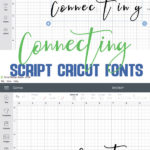 photo collage of showing how to connect script cricut fonts in design space