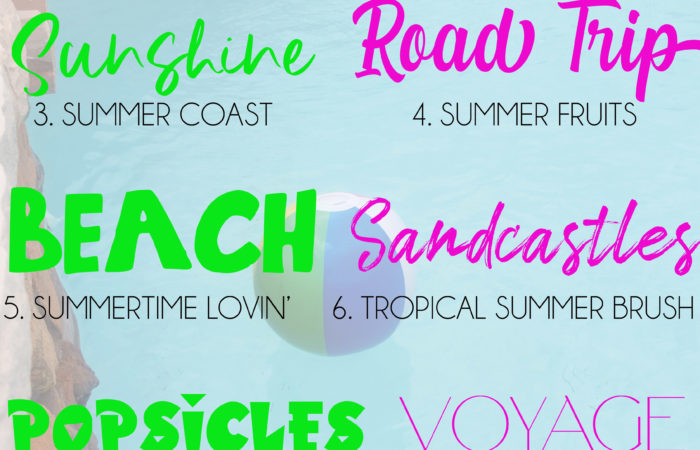 pool background photo with a collage of summer themed fonts to download