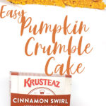 a photo collage of a piece of Easy Pumpkin Crumble Cake and the ingredients