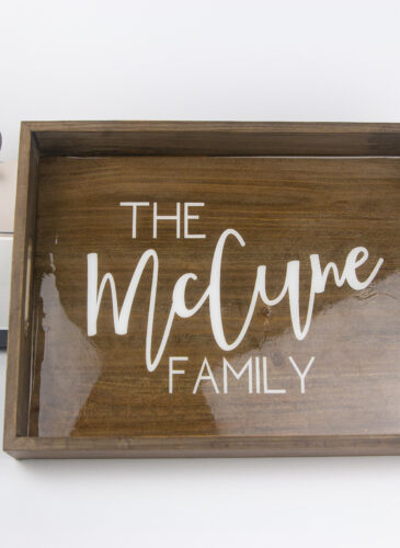 personalized serving tray with cricut and epoxy coating and vinyl name